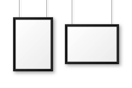 Realistic hanging on a wall blank black picture frame. Modern poster mockup. Empty photo frame. Vector illustration. Vecteurs