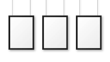Realistic hanging on a wall blank black picture frame. Modern poster mockup. Empty photo frame. Vector illustration.