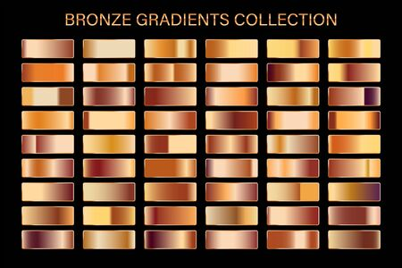 Bronze glossy gradient, metal foil texture. Color swatch set. Collection of high quality vector gradients. Shiny metallic background. Çizim