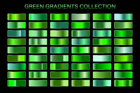 Green glossy gradient, metal foil texture. Color swatch set. Collection of high quality vector gradients. Shiny metallic background. Vecteurs