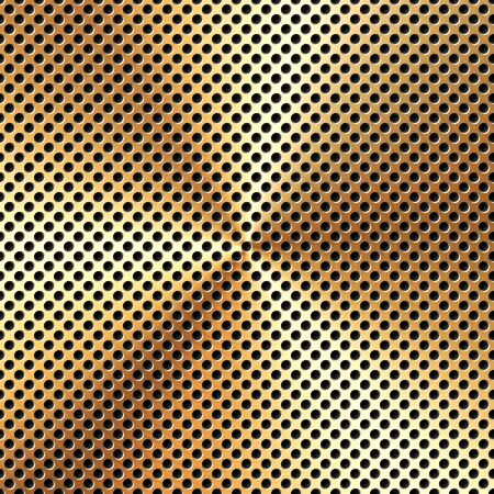 Realistic perforated brushed metal texture. Polished stainless steel background. Vector illustration. Vettoriali