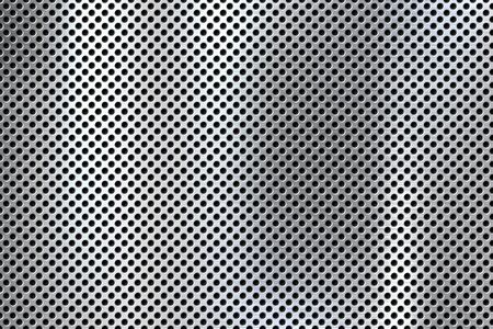 Realistic perforated brushed metal texture. Polished stainless steel background. Vector illustration.