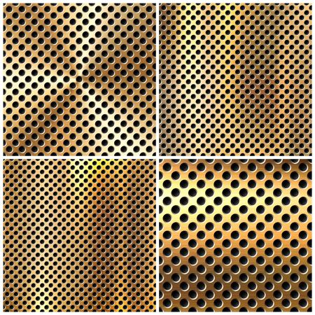Realistic perforated brushed metal textures set. Vettoriali