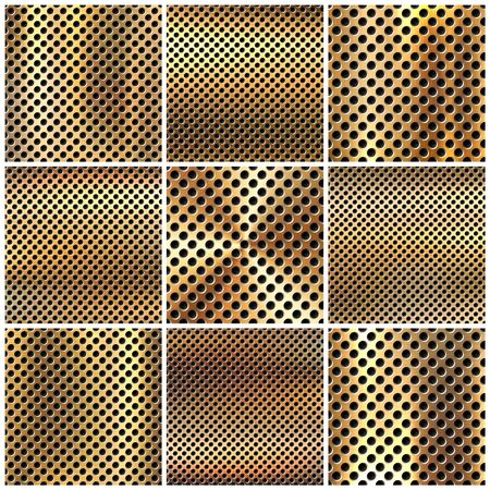 Realistic perforated brushed metal textures set. Polished stainless steel background. Vector illustration. Vettoriali