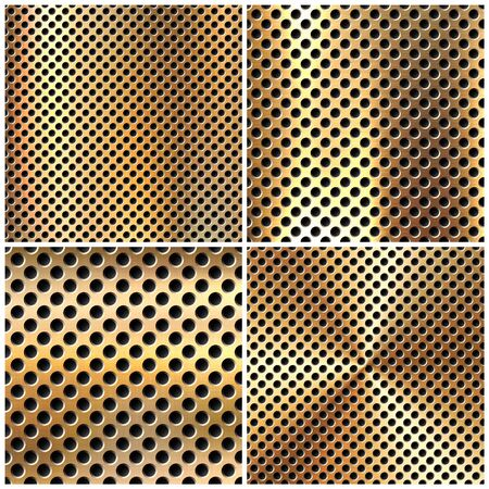 Realistic perforated brushed metal textures set. Polished stainless steel background. Vector illustration.