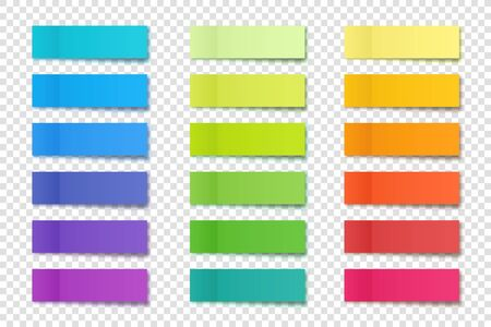 Realistic sticky notes collection. Post note stickers. Colorful sticky paper sheets. Vector illustration.