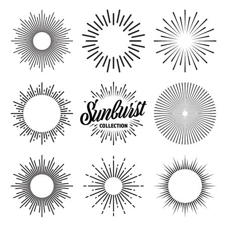 Vintage sunburst collection. Bursting sun rays. Fireworks. Logotype or lettering design element. Radial sunset beams. Vector illustration. Logos