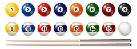 Billiard, pool balls with numbers collection. Realistic glossy snooker ball. White background. Vector illustration. 向量圖像