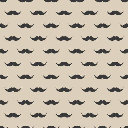 Seamless pattern with mustache. Vintage retro moustache. Facial hair. Hipster beard. Vector illustration. Illustration