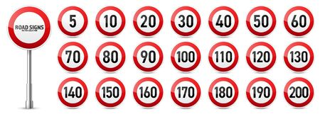 Road signs collection. Traffic control sign. Speed limit. Vector illustration