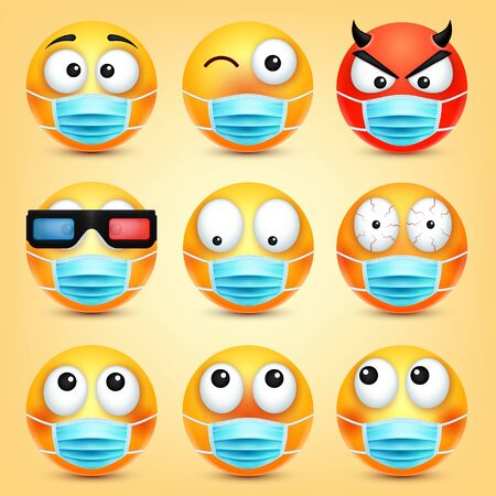 Emoticons, emoji vector collection. Cartoon yellow face with medical mask. Facial expressions and emotions