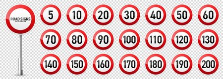 Road signs collection. Traffic control sign. Speed limit. Vector illustration.  イラスト・ベクター素材