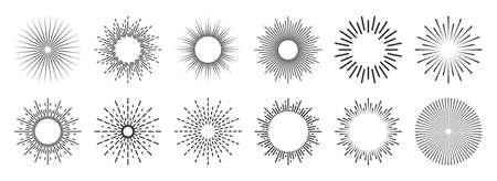 Vintage sunburst collection. Bursting sun rays. Fireworks. Logotype or lettering design element. Radial sunset beams. Vector illustration.