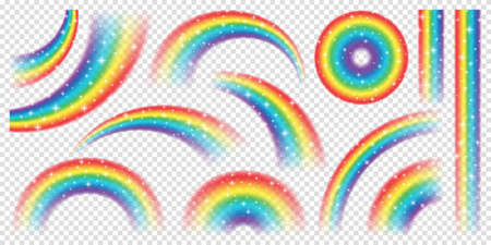 Abstract Realistic Colorful Rainbow with Shiny Stars on Transparent Background. Vector illustration. 矢量图像
