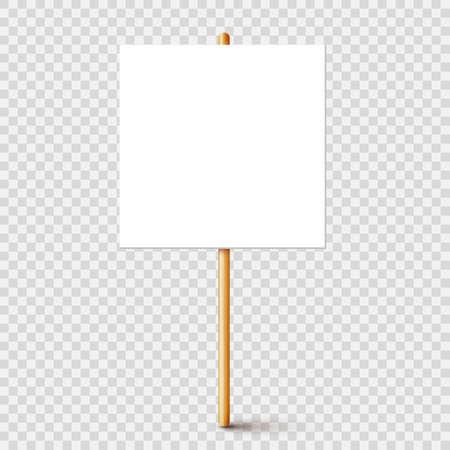 Blank protest sign with wooden holder. Realistic vector demonstration banner. Strike action cardboard placard mockup.
