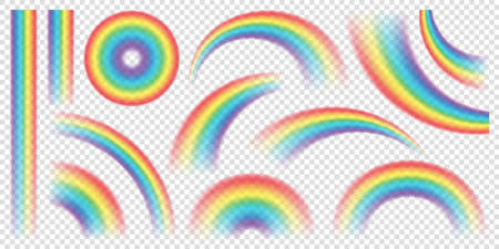 Abstract Realistic Colorful Rainbow on Transparent Background. Vector illustration. 矢量图像