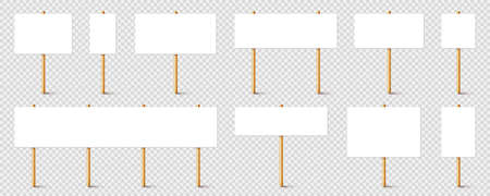 Blank protest sign with wooden holder. Realistic vector demonstration banner. Strike action cardboard placard mockup.