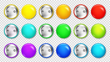 Realistic blank badges collection. Colorful 3D glossy round button. Pin badge mockup. Vector illustration.