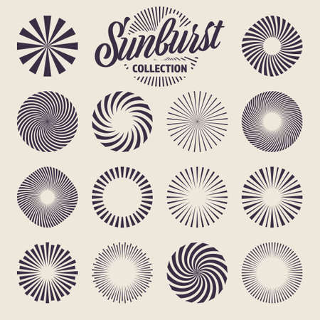 Vintage sunburst collection. Bursting sun rays. Fireworks. Radial sunset beams. Vector illustration.