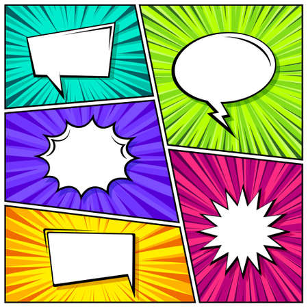 Cartoon comic backgrounds set. Speech bubble. Comics book colorful poster with radial lines. Retro Pop Art style. Vector illustration.