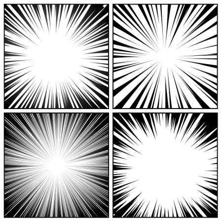 Comic book radial lines collection. Comics background with motion, speed lines. Vector illustration. Vector Illustration