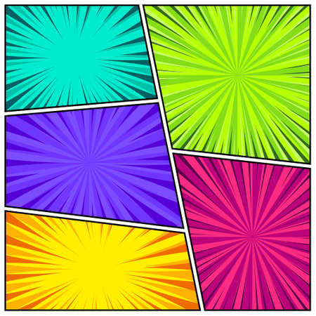 Cartoon comic backgrounds set. Comics book colorful poster with radial lines. Retro Pop Art style. Vector illustration. 矢量图像