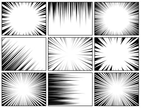 Comic book radial lines collection. Comics background with motion, speed lines. Vector illustration.