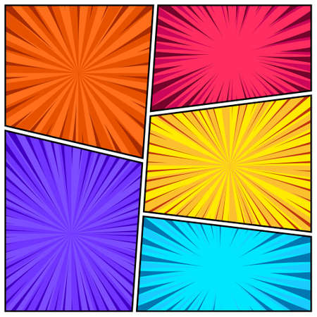 Cartoon comic backgrounds set. Comics book colorful poster with radial lines. Retro Pop Art style. Vector illustration. Illustration