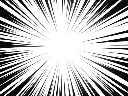 Comic book radial lines. Comics background with motion, speed lines. Vector illustration. Vettoriali