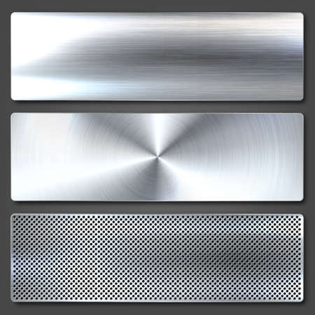 Realistic brushed metal textures set. Polished stainless steel background. Vector illustration. Vecteurs