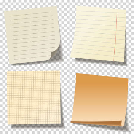 Realistic blank sticky notes. Colored sheets of note papers. Paper reminder. Vector illustration. Vetores