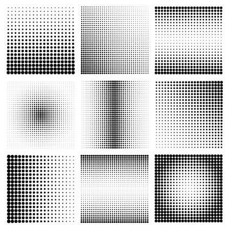 Halftone design elements with black dots isolated on white background. Comic dotted pattern.Vector illustration. Vetores