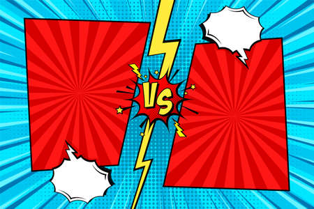 Cartoon comic background. Fight versus. Comics book colorful competition poster with halftone elements. Retro Pop Art style. Vector illustration.