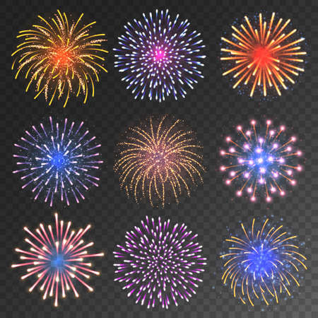 Festive fireworks collection. Realistic colorful firework on transparent background. Christmas or New Year greeting card element. Vector illustration. Vettoriali
