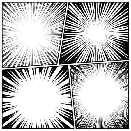 Comic book radial lines collection. Comics background with motion, speed lines.