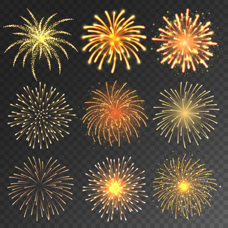 Festive fireworks collection. Realistic colorful firework on transparent background. Christmas or New Year greeting card element. Vector illustration.