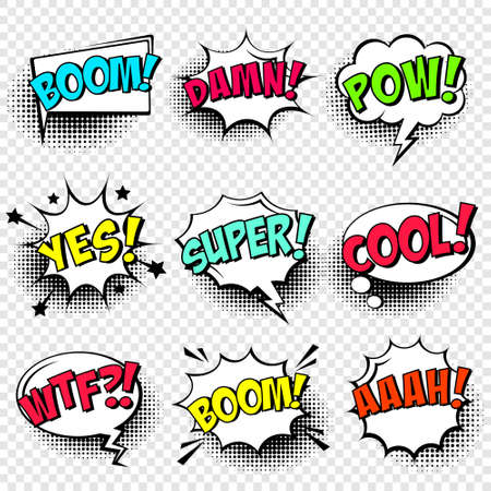 Comic speech bubbles with halftone shadow and text phrase. Vector hand drawn retro cartoon stickers. Pop art style.