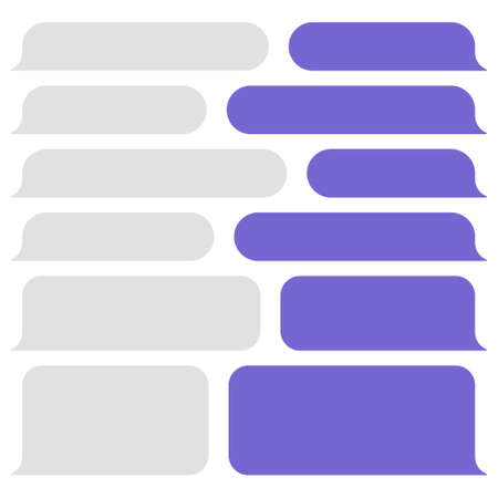 Blank vector message bubbles. Chat or messenger speech bubble. SMS text frame. Short message sending.