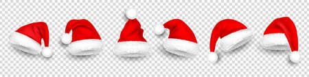 Christmas Santa Claus hats with fur. New Year red hat isolated on transparent background. Winter cap. Vector illustration.