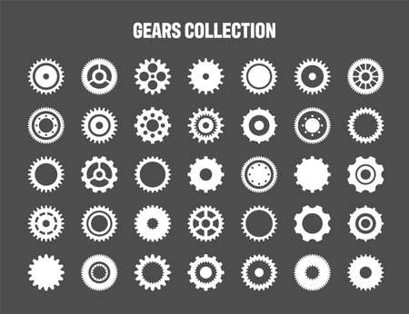 Simple gear icons. Wheels set on black background. Vector white cogwheels collection. Ilustração