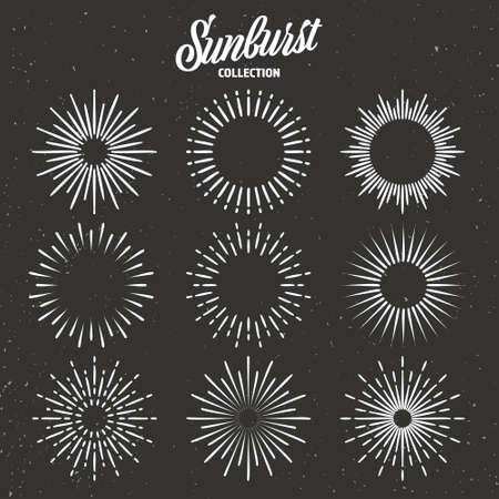 Vintage grunge sunburst collection. Bursting sun rays. Fireworks. Lettering design element. Radial sunset beams. Vector illustration. Vector Illustration