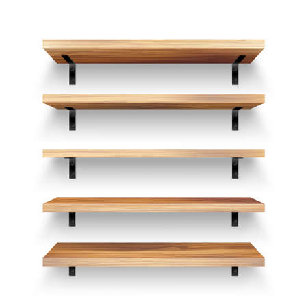 Realistic empty wooden store shelves set. Product shelf with wood texture and black wall mount. Grocery rack. Vector illustration.