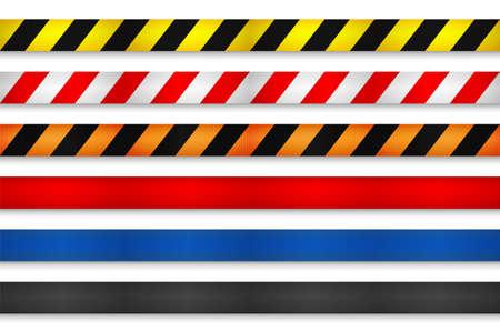 Realistic retractable caution belt. Crowd control strap barrier. Queue lines. Restriction border and danger tape.