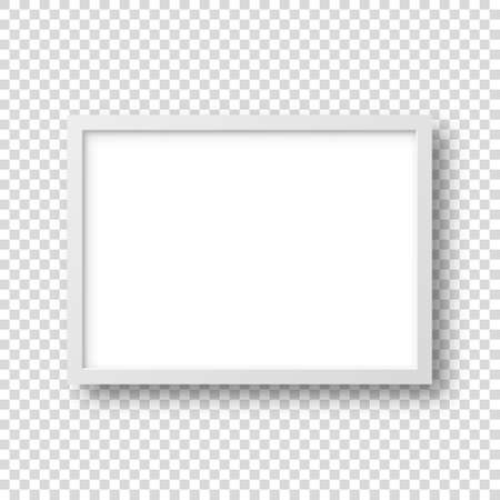 Realistic picture frame isolated on transparent background. Blank poster mockup. Empty photo frame. Vector illustration.