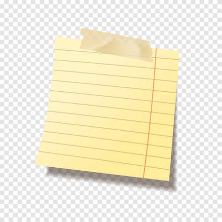 Realistic sticky note sheet. Blank lined paper. Vector illustration.