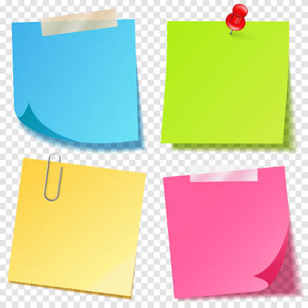 Realistic colorful blank sticky notes with clip binder. Colored sheets of note papers. Paper reminder. Vector illustration.