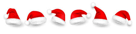 Christmas Santa Claus hats with fur. New Year red hat isolated on white background. Winter cap. Vector illustration.