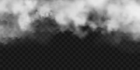 Realistic fog, mist effect. Smoke on dark background. Vector vapor in air, steam flow. Clouds. 矢量图像