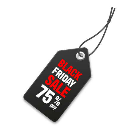 Realistic black price tag. Special offer or shopping discount label. Retail paper sticker. Promotional sale badge. Vector illustration.