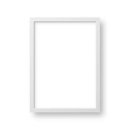 Realistic picture frame isolated on white background. Blank poster mockup. Empty photo frame. Vector illustration. Illusztráció